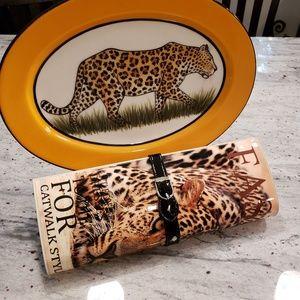 Leopard clutch fashion magazine never used